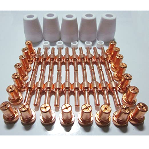 50pcs Plasma Cutting Torch PT-31 LG 40 Consumables Set Extended Electrodes Tips