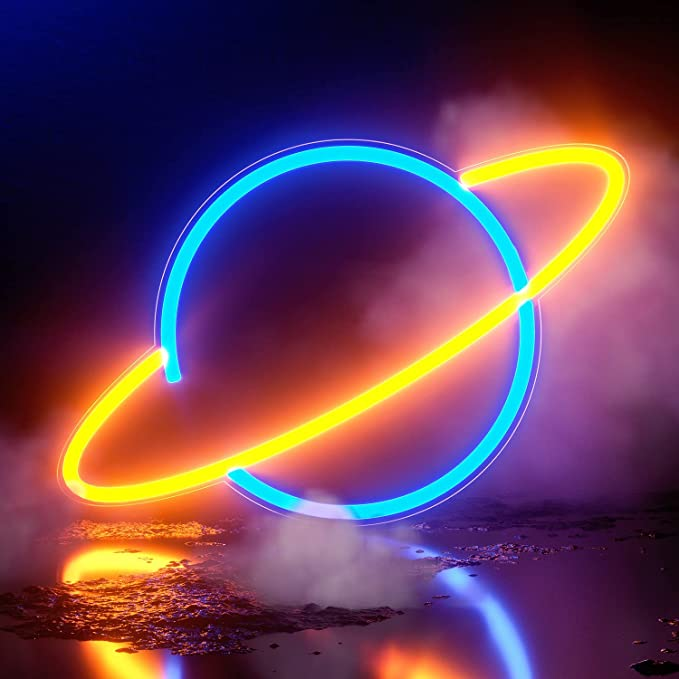 TURNMEON Planet Neon Sign Neon Lights for Wall Decor USB or Battery Decorative Blue-Pink Led Signs Light up for Bedroom Home Living Room Kids Room Wedding Birthday Party Decor