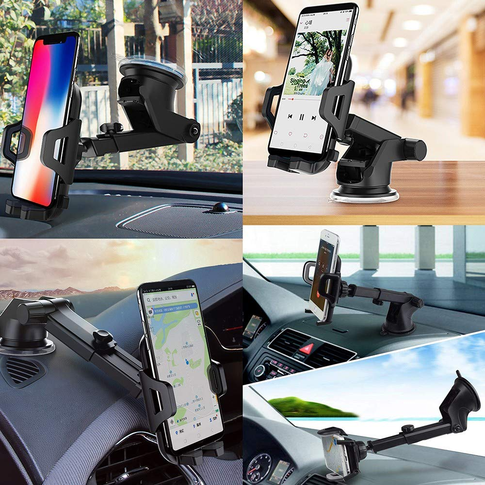 Car Phone Mount Air Vent Mount Holder Cradle 2 in 1 with Adjustable Washable Strong Sticky Gel Pad Dashboard Windshield for iPhone X 8//8P 7//7P 6S//6SP 6 SE Samsung Galaxy S9//S9P S8//S8P Edge S7 S6