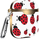 Compatible with AirPods 2 and 1 Shockproof Soft TPU Gel Case Cover with Keychain Carabiner for Apple AirPods Flowers Chamomile Ladybugs