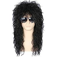 Topcosplay 70s 80s Halloween Costumes Rocking Dude Wig Punk Metal Rocker Disco Mullet Wig Black Curly