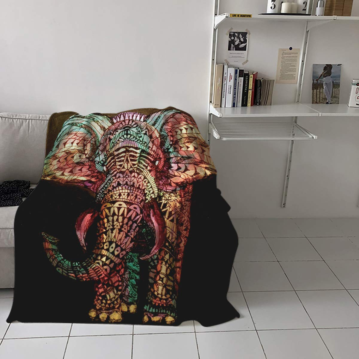 CDM product Luxury Flannel Fleece Throw Blanket Super Soft Warm Fuzzy Plush Microfiber Lightweight Throw Couch Chair Bed Blankets for Fall Winter Spring - King 60x80 Inch Boho Tribe Elephant small thumbnail image