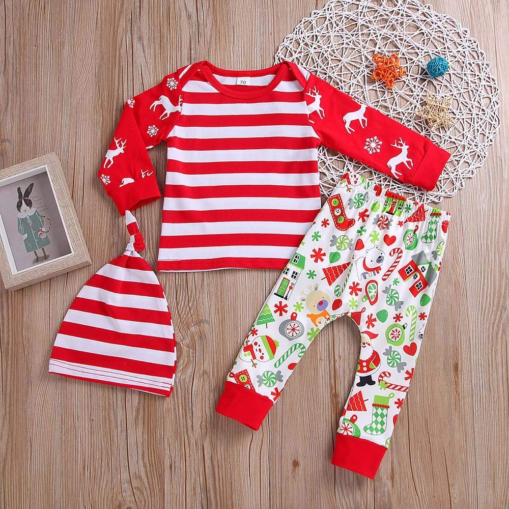 c12fa68d1d93 Amazon.com: BOLUOYI Outfits for Teen Girls 3PCS Christmas Toddler Baby  Cartoon Deer Stripe Print Top+Pants+Hat Set Outfit Red 100: Toys & Games