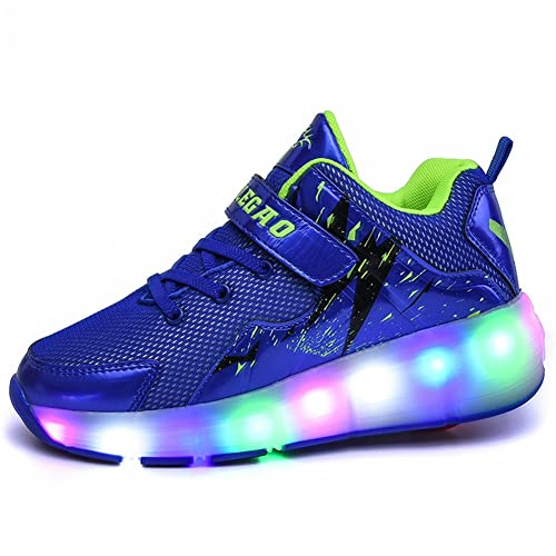 TORISKY Niñas Niño Zapatillas con ruedas Deporte Zapatos Patín LED policromo(SKY1719-blue40)