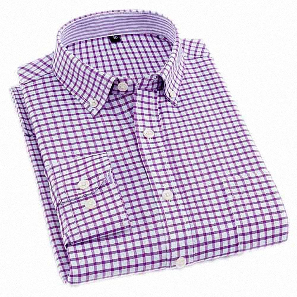 Goobester Men Dress Shirt Male Long Sleeved Plaid Shirt Business Men Shirts Top