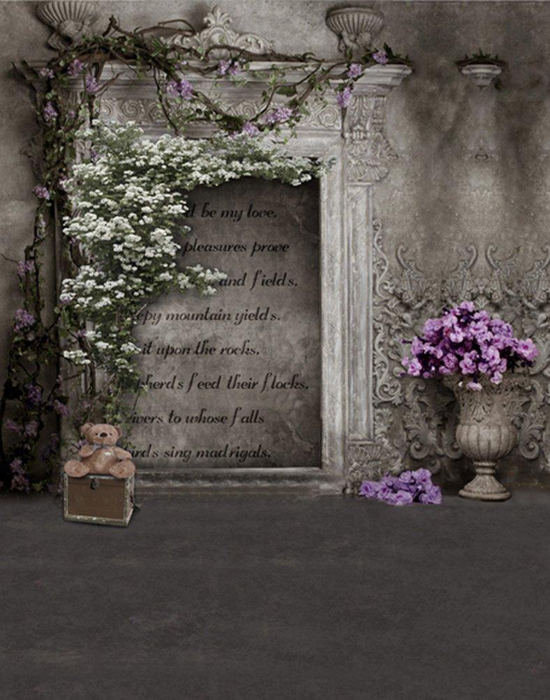 ヴィンテージ壁詩花写真の背景幕写真小道具Studio背景5 x 7ft   B01GYVCNCG