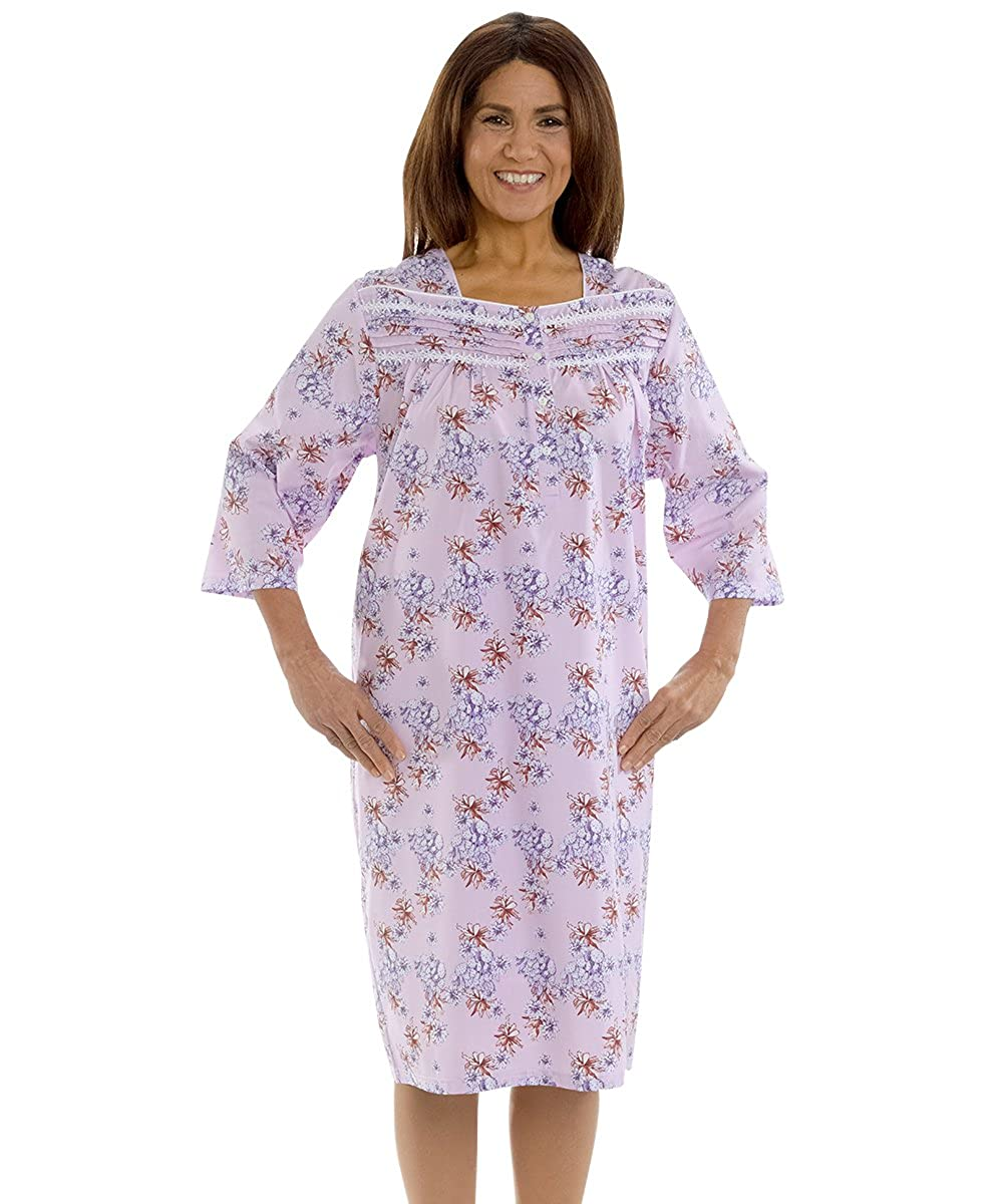 0cb26eecbe Amazon.com  Womens Cotton Hospital Nightgown 3 4 Sleeves Open Back -   Clothing