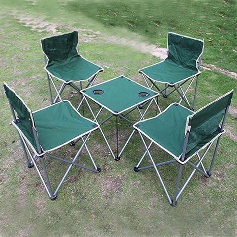 WANG Mesa y Silla de Camping Mesa Plegable y Juego de 4 ...