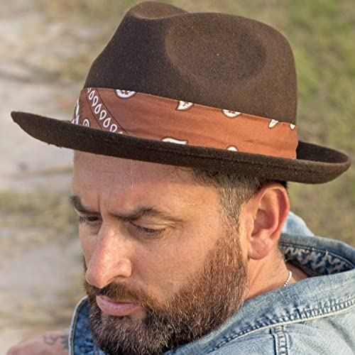 8c57898c471 Amazon.com  RACEU ATELIER Mission Brown Hat - Mid Brim Fedora Hat ...