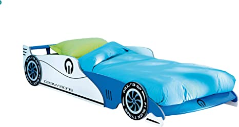 Auto Cama Infantil Leon con somier Enrollable (14 Listones Azul 90 * 200 Cuna Cama de Carreras Coche de Carreras Cama Juvenil – Tumbona Cama Juego ...