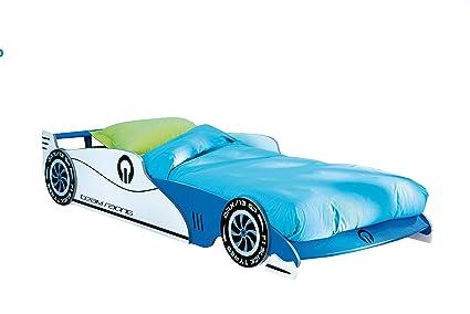 Auto Cama Infantil Leon con somier Enrollable (14 Listones Azul 90 * 200 Cuna Cama