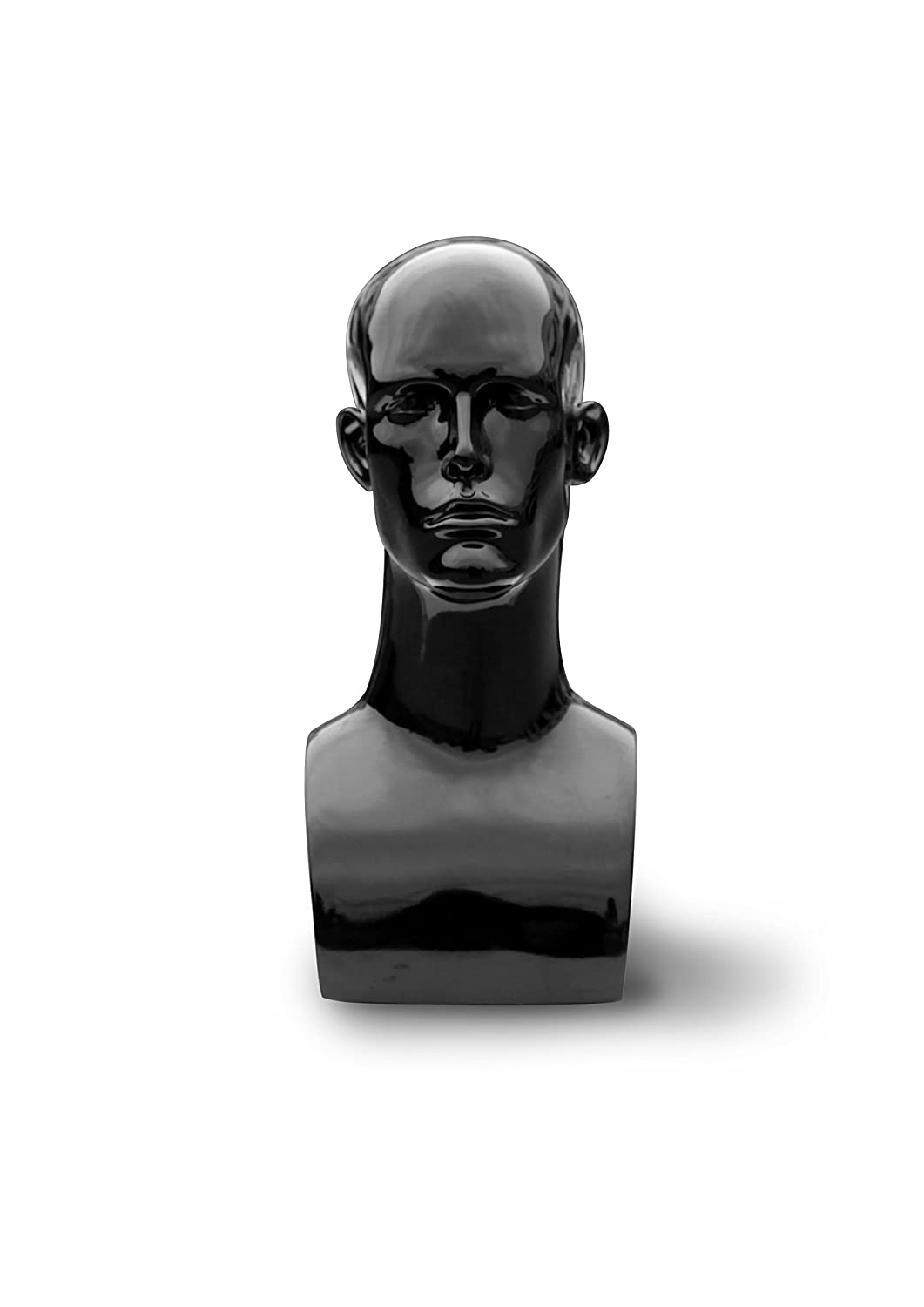 AMKO PDHA-MG1 Male Mannequin Head, 17 1/4' Height, Lightweight, Surprisingly Strong, Material, Durable, Perfect Display, Quality Plastic, Glossy Black Finish, Damage Resistant 17 1/4 Height Amko Display