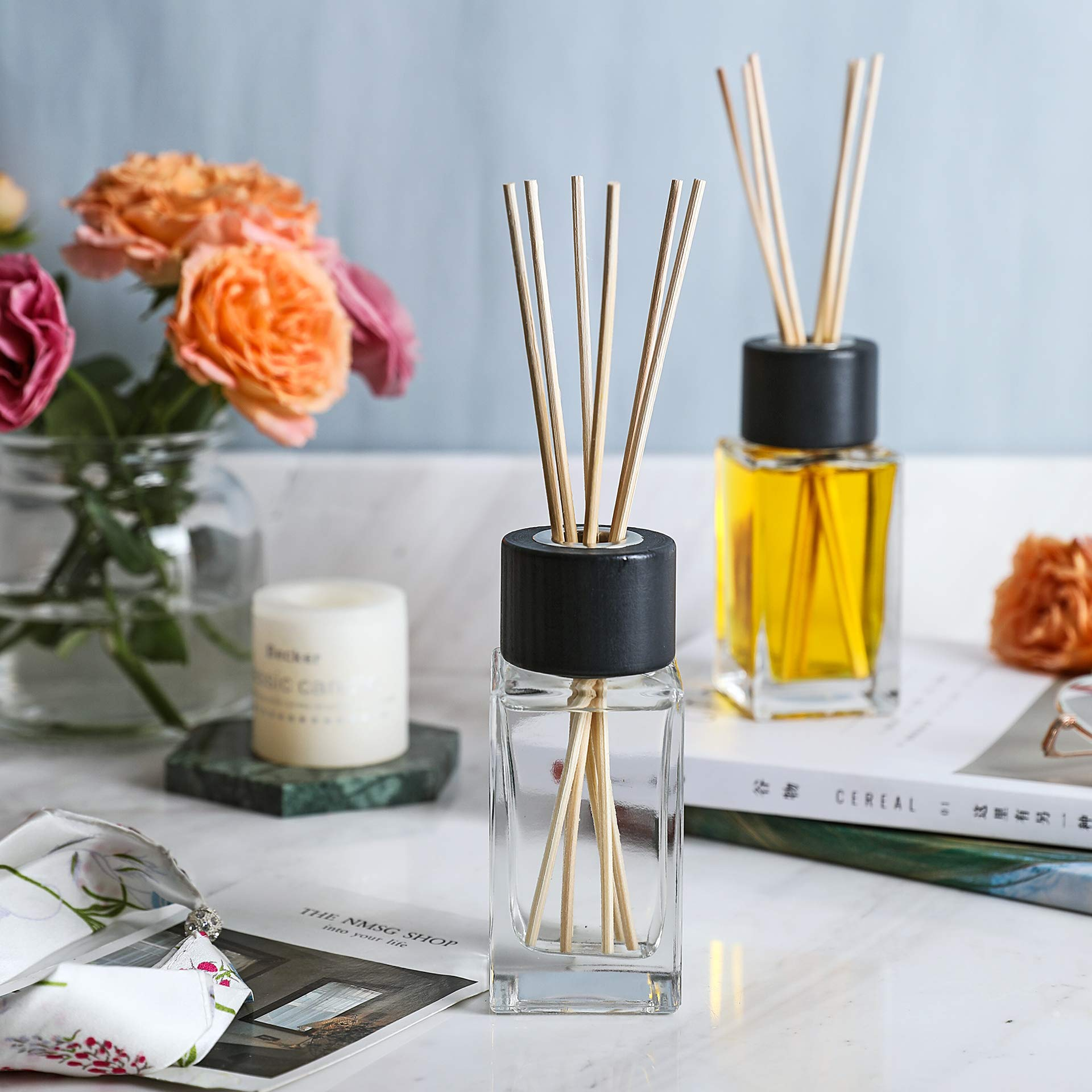 Whole Housewares 100ML 3.4Ounce Clear Glass Diffuser Bottles with 24pcs Natural Reed Sticks, 4.7'' H Square Diffuser Bottle with Black Wood Caps, Set of 4 by Whole Housewares (Image #3)