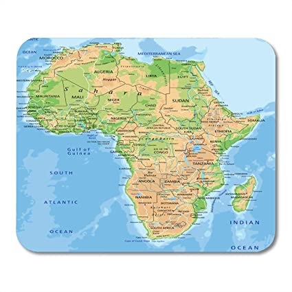 Map Of Africa Physical.Amazon Com Emvency Mouse Pads African High Detailed Africa