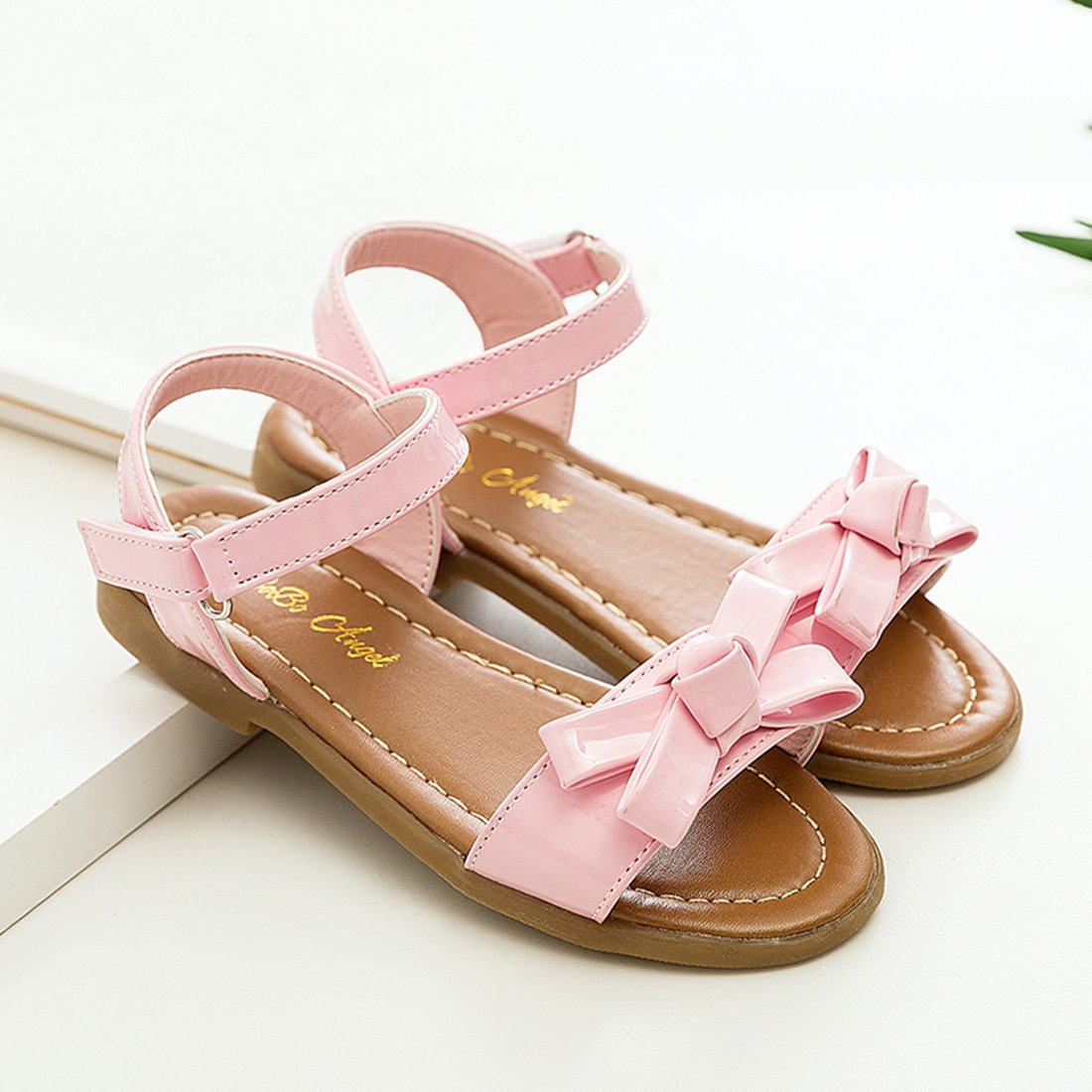 Toddle//Little Kid YIBLBOX Girls Open Toe 2 Strap Flat Sandals Cute Summer Shoes with Bownot