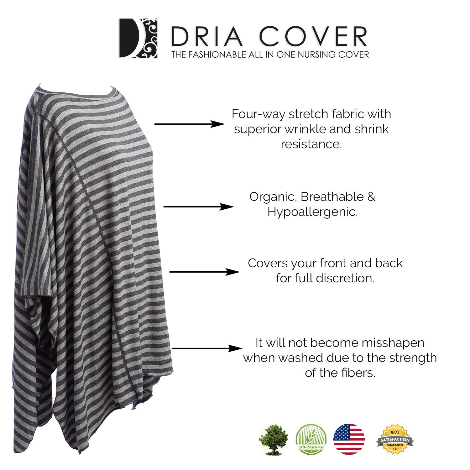 Fashionable Nursing Covers by DRIA - 'The All-In-One, Stroller Cover, Car Seat Cover' - Made in USA from Premium Four Way Stretch and Breathable Modal Fabric (Oslo Style: Grey Stripe) by DRIA Cover (Image #8)