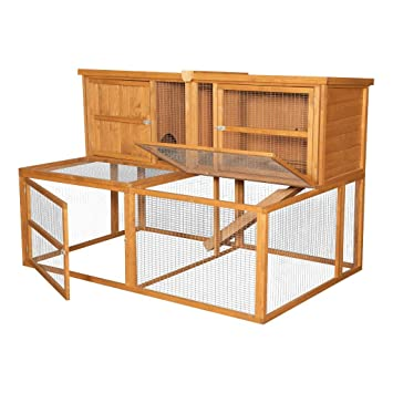 6ft Kendal Outdoor Rabbit Hutch And Run Xl Wooden Pet House With