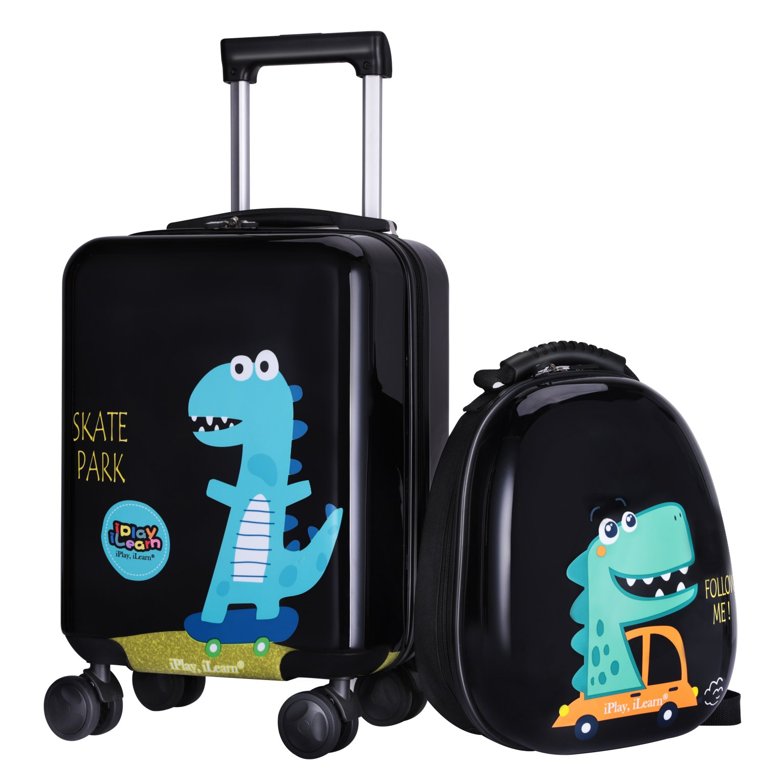"18"" Kid Dinosaur Luggage, Hard Shell Travel Suitcase for Boy Toddler Child"