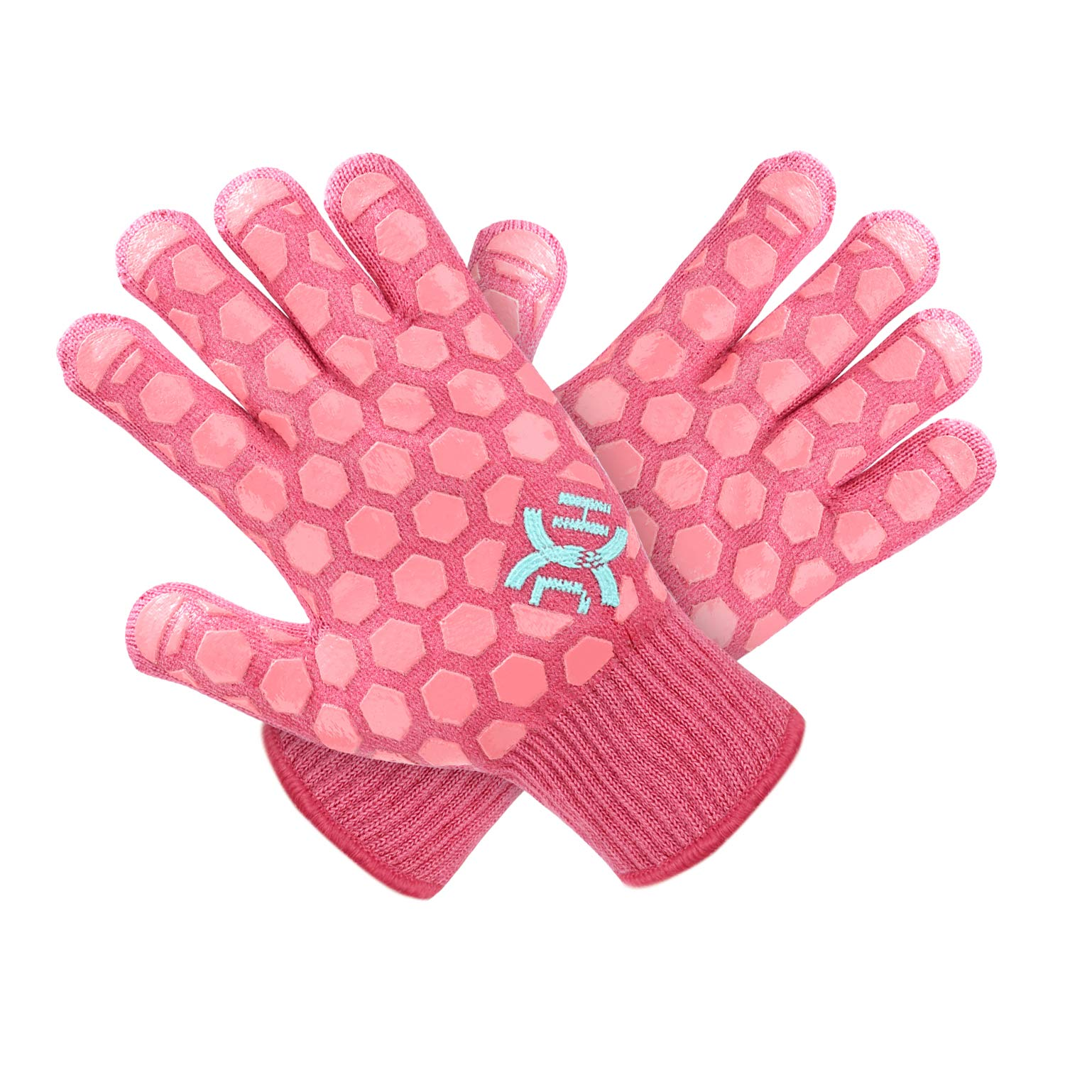 JH Heat Resistant Oven Glove: EN407 Certified 932 °F, 2 Layers Silicone Coating, Coral Shell with Pink Coating, BBQ & Oven Mitts For Cooking, Kitchen, Fireplace, Grilling, 1 Pair, Women Fits All