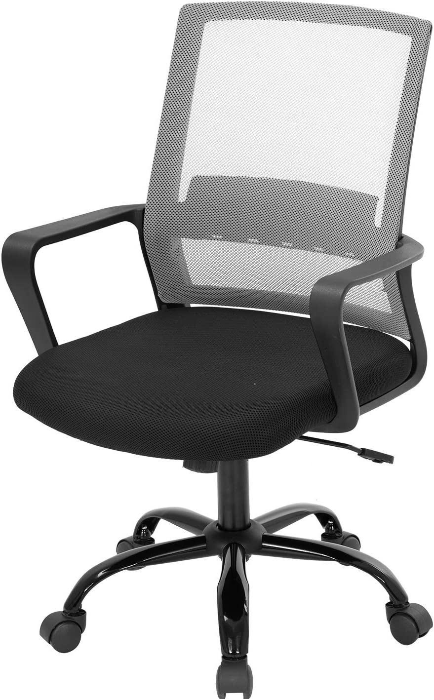 Office Chair Ergonomic Desk Task Chair Mesh Computer Chair Mid-Back Mesh Home Office Swivel Chair Modern Executive Chair with Wheels Armrests Lumbar Support (Grey)