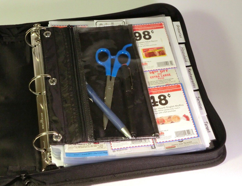 Coupon Saver Zipper Binder Bundle with Free Bonus Pouch (Silver)