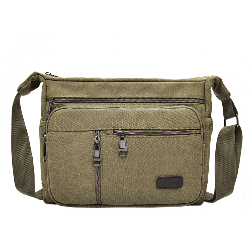 Amazon.com  EasyHui Canvas Shoulder Messenger Bag Small Crossbody Travel  Purse for Mens Womens Multi-layer Leisure Bag Army Green  Sports   Outdoors 5afab0019