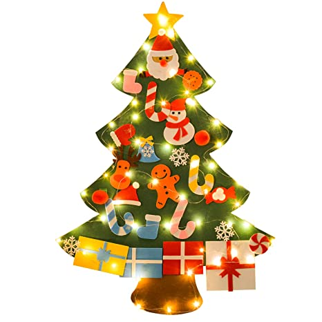 funpa felt christmas tree set fixed diy christmas tree with 26 pcs ornaments wall decor