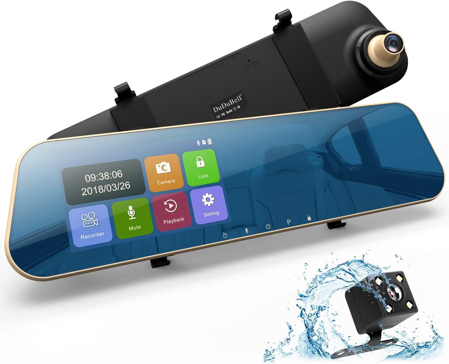 """Dual Dashboard Recorder with 6G HDR Night Vision Front Cam and IP 68 Waterproof LED Rear Backup Cam DuDuBell 4.3/"""" Touch Screen Car Dash Cam 1080P 290/° Wide Angle Mirror DVR Mirror Dash Cam"""