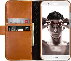 StilGut Talis Case con tasca per carte , custodia in pelle cover per Honor 8 Pro. Chiusura a libro Flip-Case in vera pelle fatta a mano, Cognac