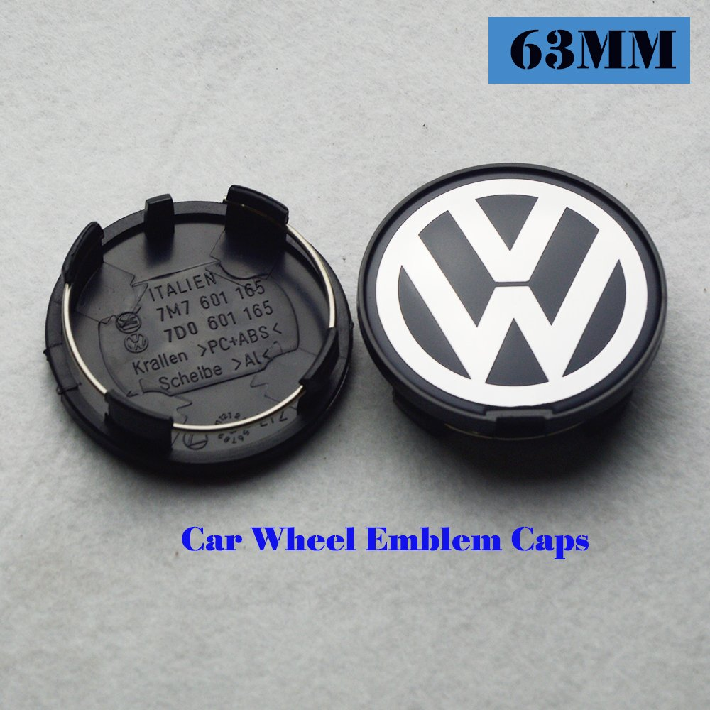 Hanway 4 piezas 63 mm Volkswagens rueda centro tapa VW Rueda Hub Caps Volkswagens Logo insignia emblema GOLF JETTA MK5 PASSAT SCIROCCO B6 Santana P/N: ...