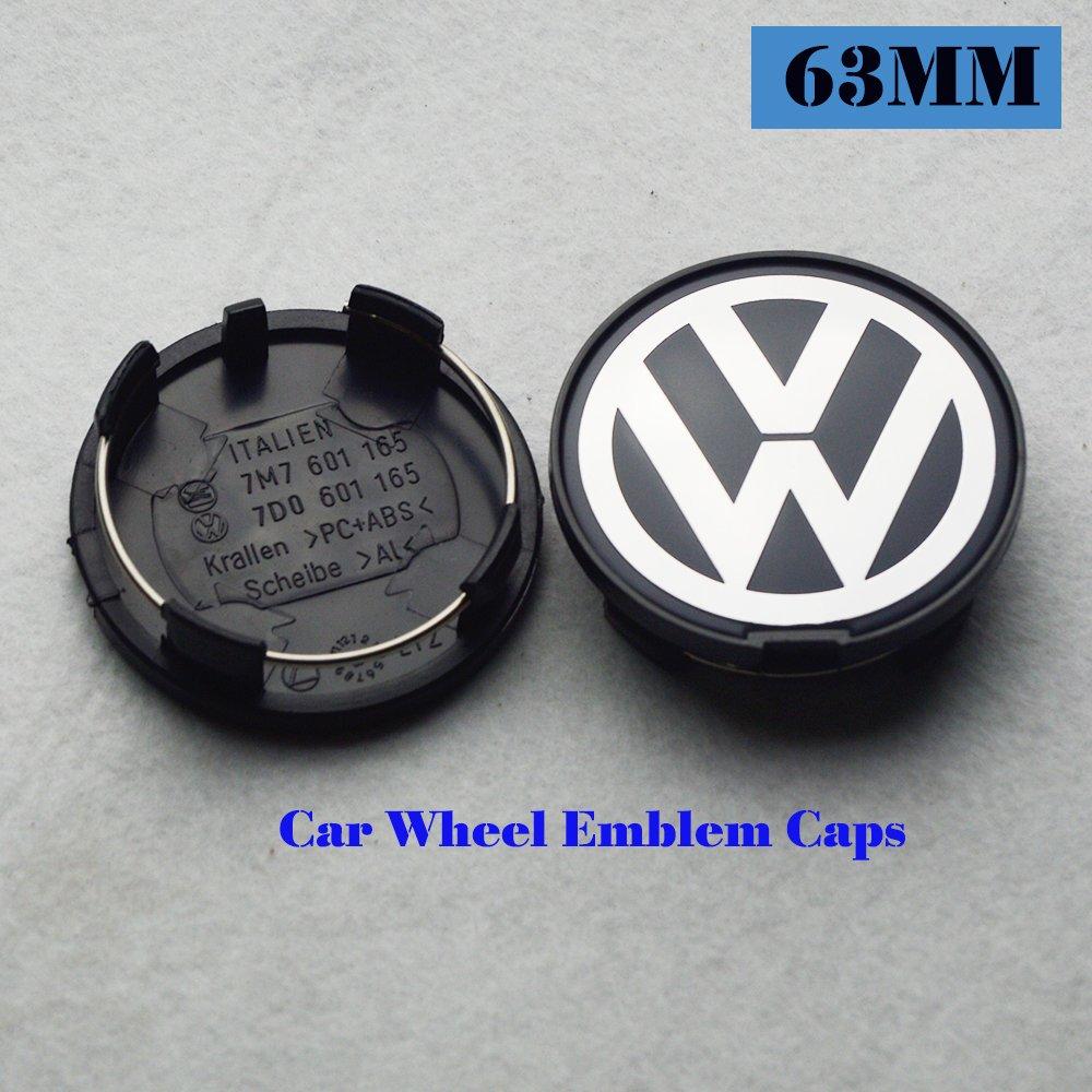 Hanway 4Pcs 63mm Volkswagens Wheel Center cap vw Wheel Hub Caps Volkswagens LOGO Badge Emblem Golf Jetta Mk5 Passat Scirocco B6 SANTANA P/N:7D0601165 by HANWAY (Image #2)