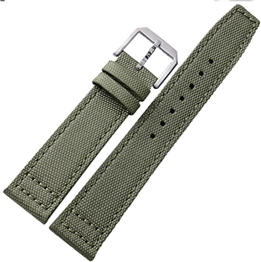 ToolPins 22mm Green Canvas StrapBand with BlackSilver BuckleClasp fit BREITLING Watches