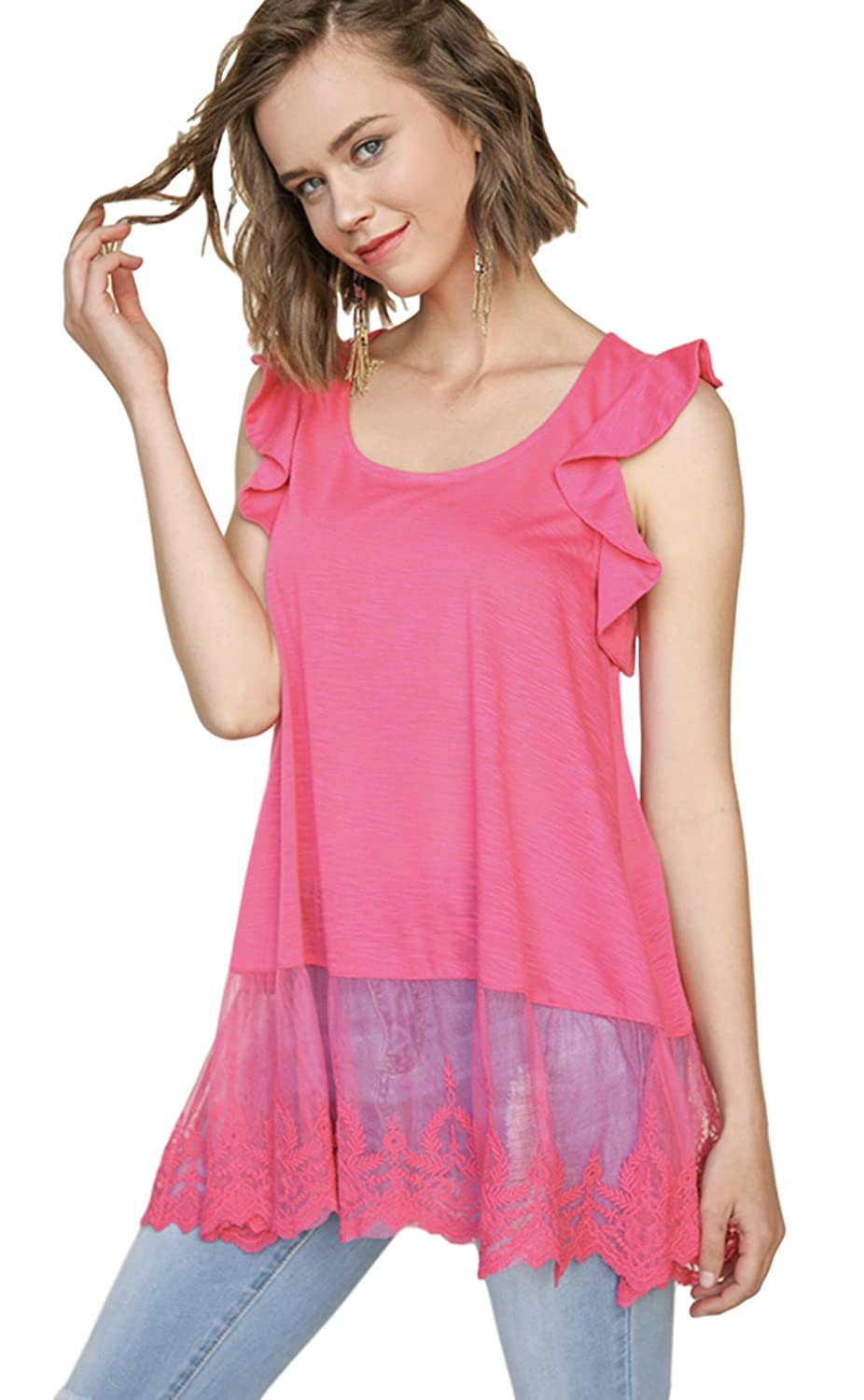 7cb377075345d2 Umgee Women s Slub Knit Sleeveless Top with Lace Trim and Ruffle Shoulder  Details at Amazon Women s Clothing store