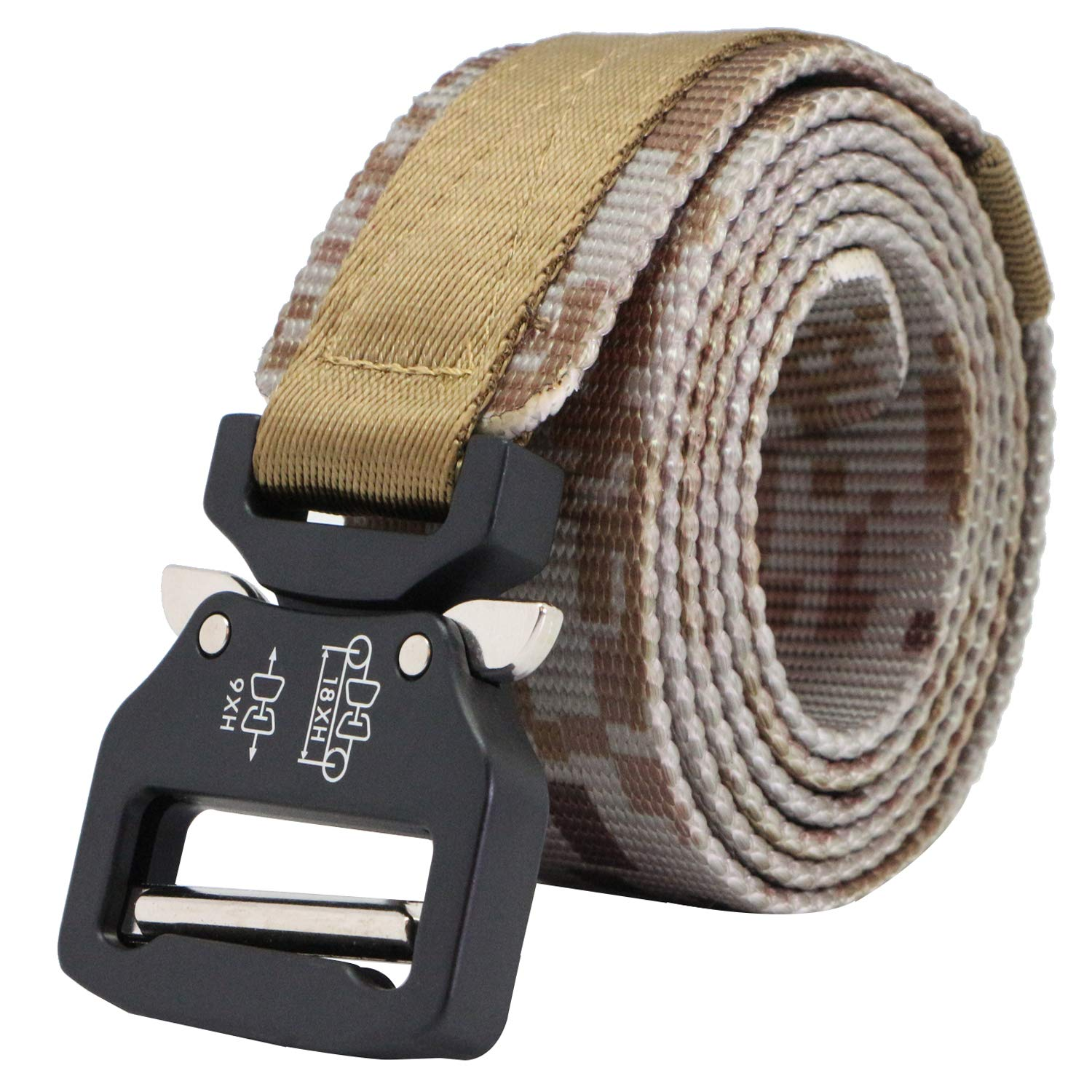 AIZESI Men Tactical Military Nylon Riggers Belt with Stab Lock Style Heavy Buckle Belt for Work Outdoor Hiking Skiing Cycling,Adjustable for Pants Size Below 47'',49''