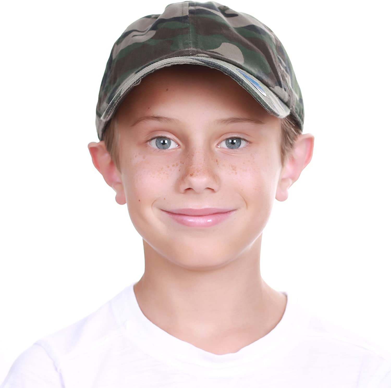 KBETHOS Kids Boys Girls Hats Washed Low Profile Cotton Denim Plain Baseball Cap