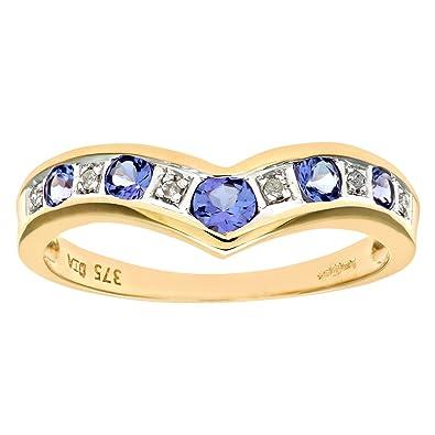 Naava Women's 9 ct Yellow Gold 'I Love You' Diamond Wishbone Ring 503cP8