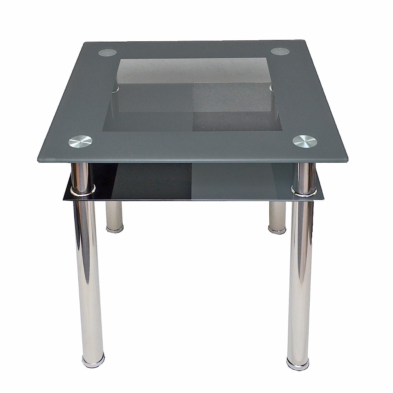 Computertisch Esstisch Küchentisch Tisch Ecktisch Karo Schwarz Grau aus Edelstahl mit 10 mm ESG Sicherheitsglas