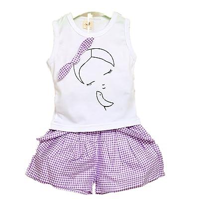 JIAJIA YL Ensembles de Bébé Filles,Filles Mignon T-Shirt Bow Chemise de Modèle de Fille Tops+ Shorts Ensemble Vêtements pour Enfant Fille 2-7 Ans
