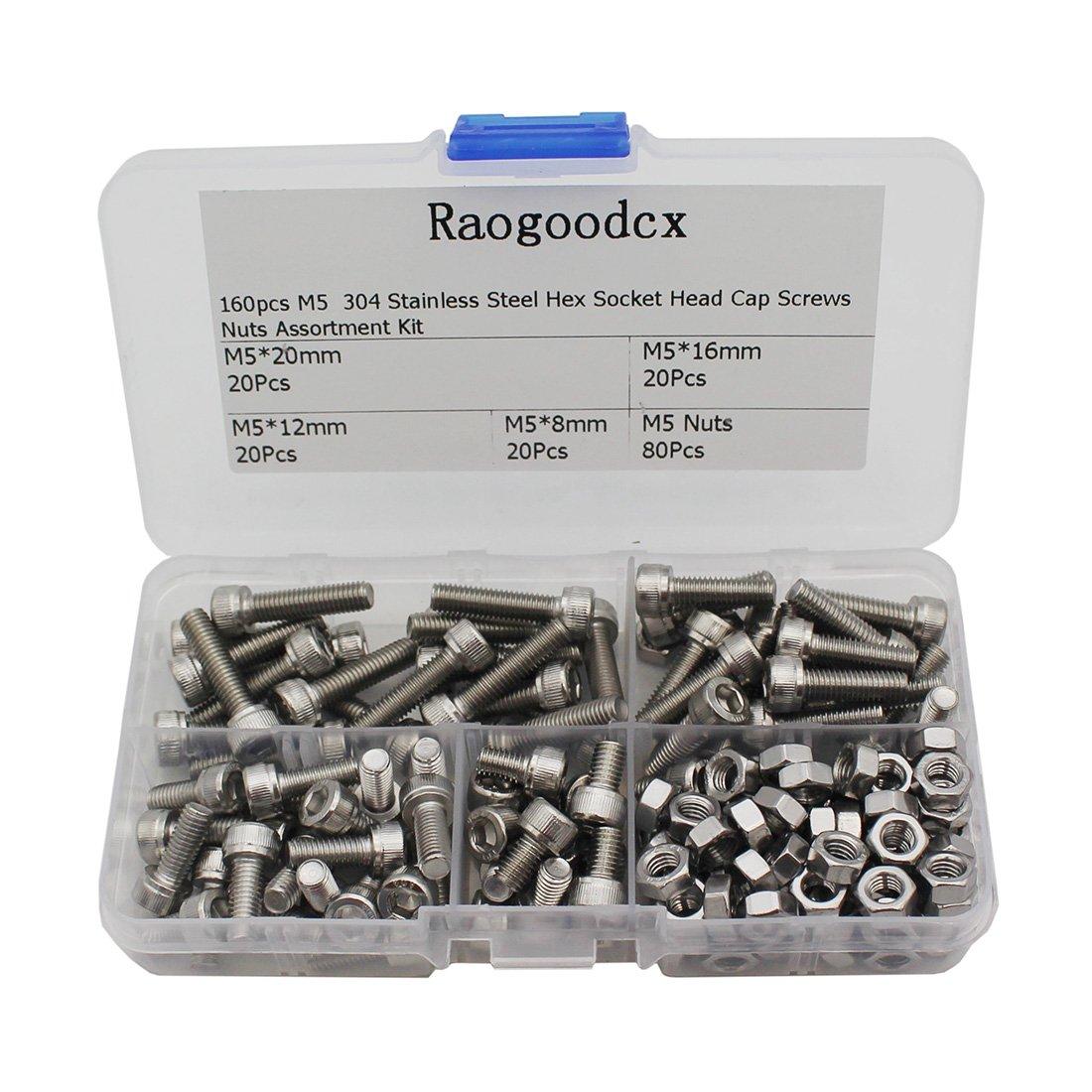 Raogoodcx 160Pcs M5 Stainless Steel Hex Socket Head Cap Screws Nuts Assortment Kit (M5 Steel Sockets)