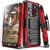 Evocel LG K8V (Verizon) [Generation Series] Rugged Holster [Kickstand & Belt Swivel Clip] + HD Screen Protector For LG K8V (VS500), Red (EVO-LGVS500-AB203)