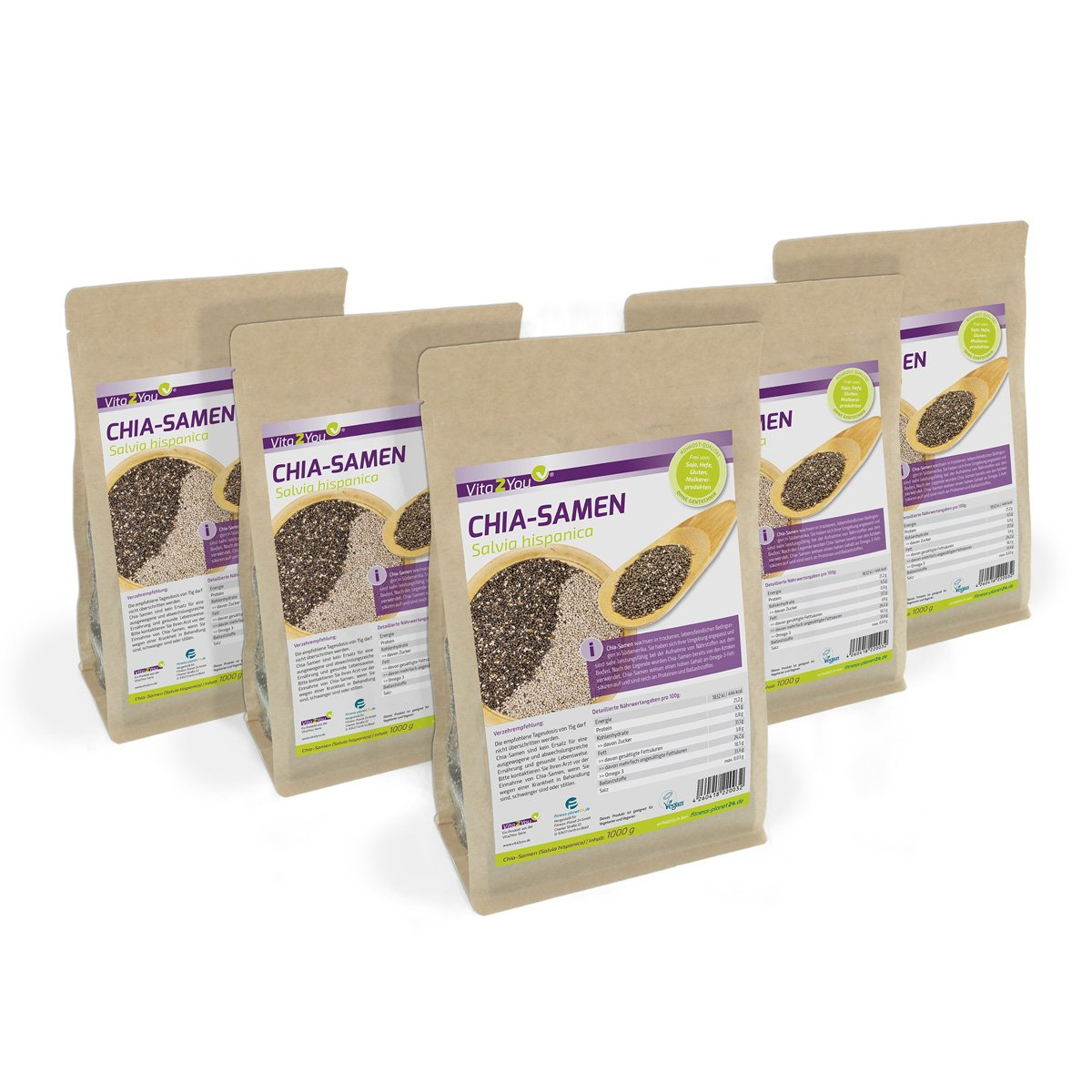 Vita2You Chia Samen - Salvia Hispanica - 5 x 1kg Zippbeutel - 5er Pack (5000g) product image