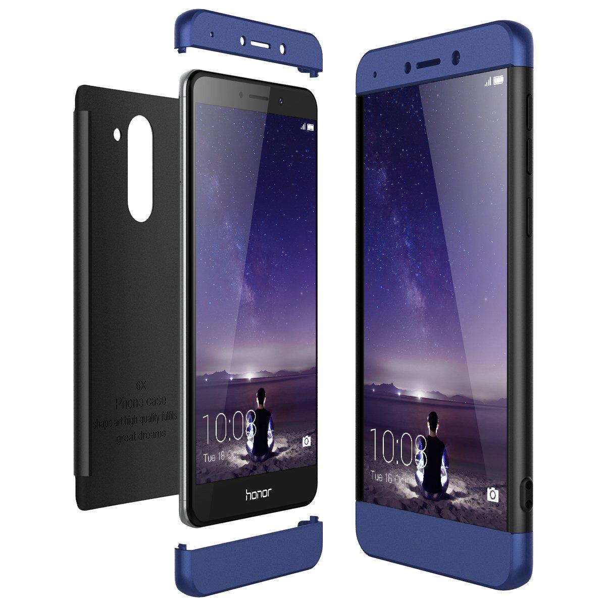 CE-Link Funda Huawei Honor 6X, Carcasa Fundas para Huawei Honor 6X, 3 en 1 Desmontable Ultra-Delgado Anti-Arañazos Case Protectora - Azul + Negro