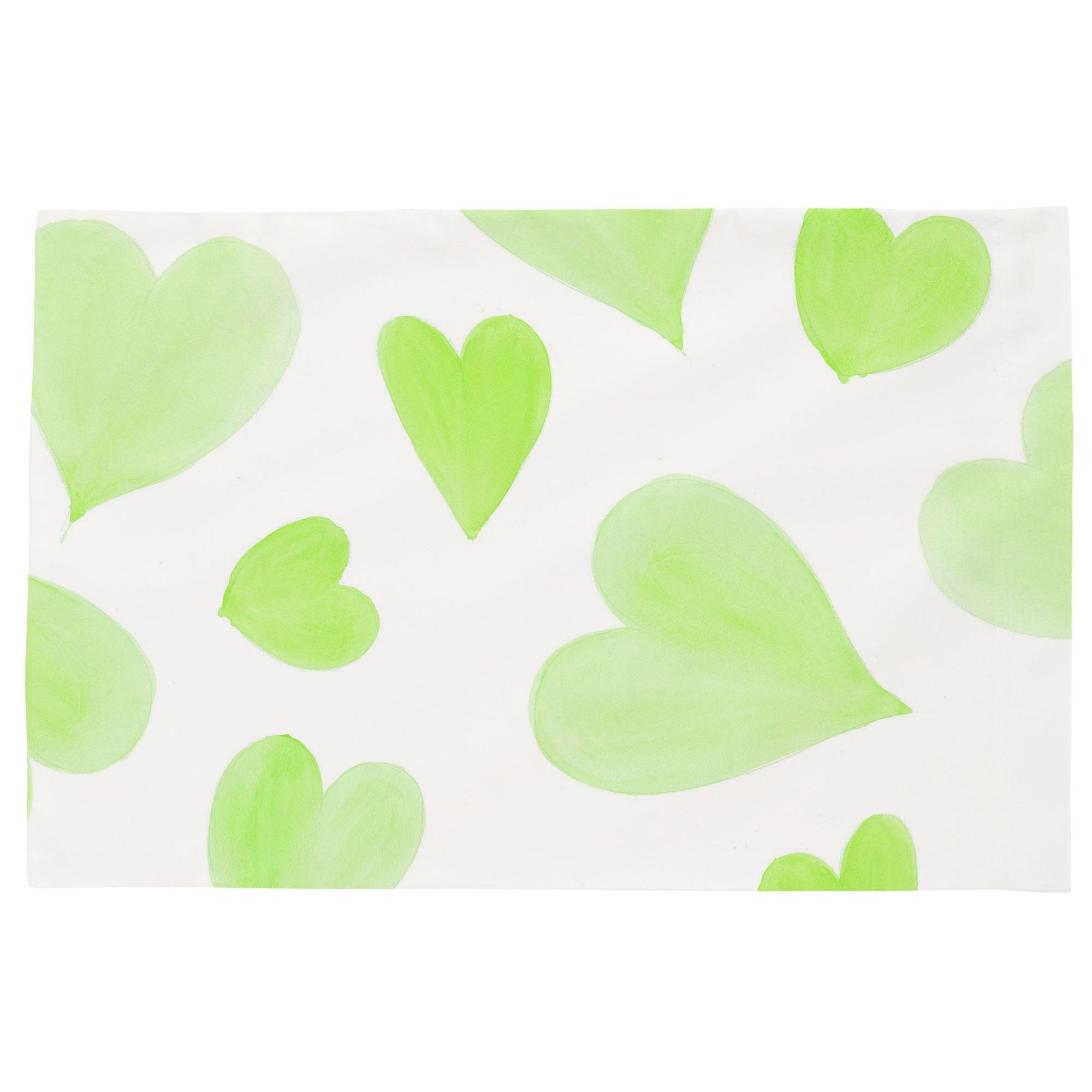 Carousel Designs Kiwi Watercolor Hearts Toddler Bed Pillow Case