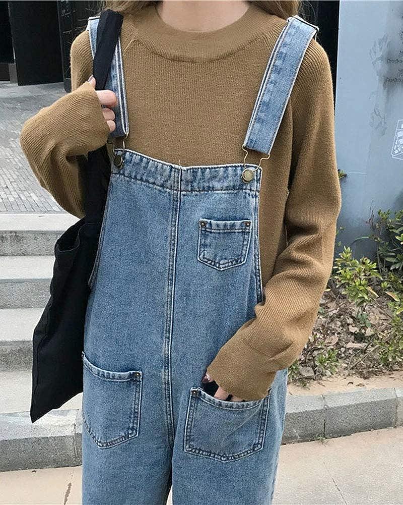 Donna Salopette in Jeans Classico Sciolto Casual Tasca Vita Alta Denim Tuta