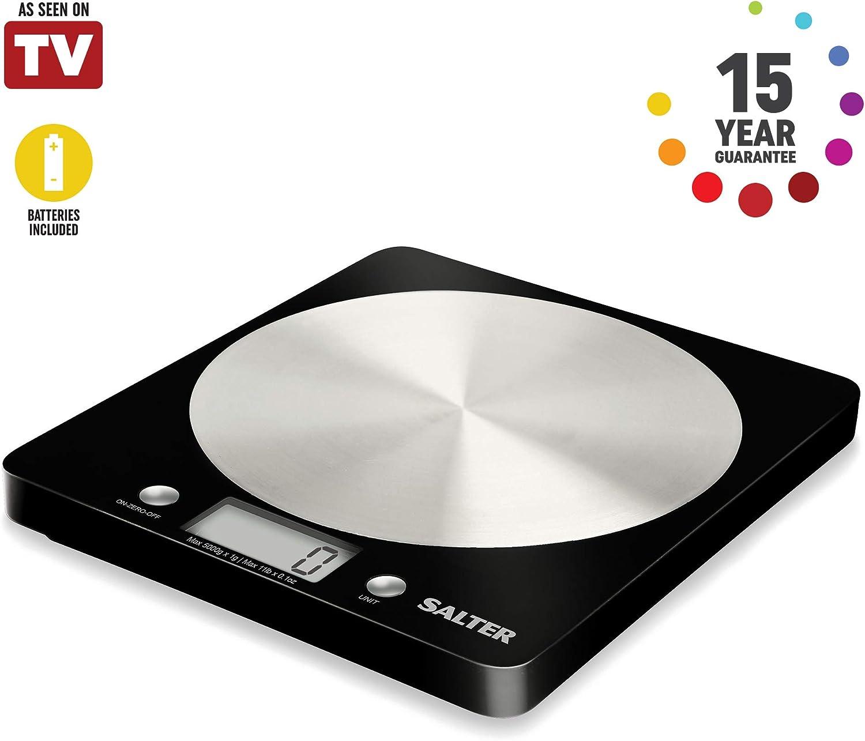 Salter Báscula de Cocina Digital Plataforma de Vidrio, Capacidad 5kg, Función de Añadir y Pesar, Negro