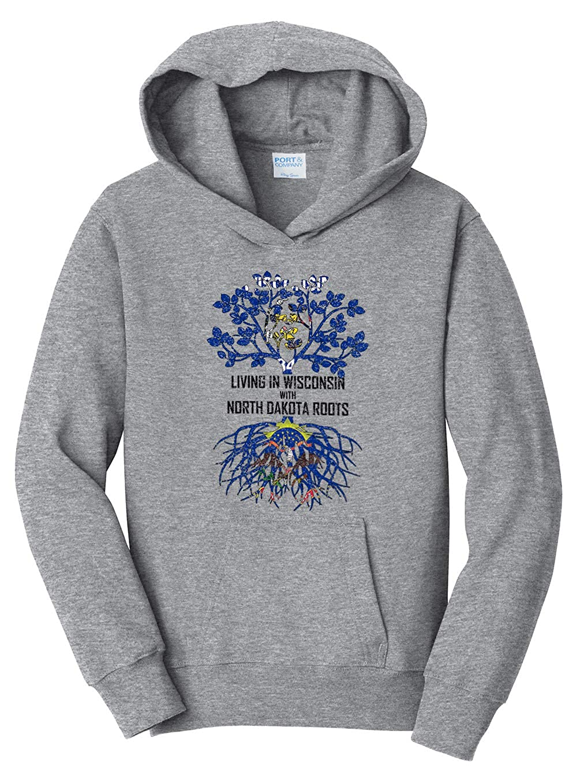 Tenacitee Girls Living in Wisconsin with North Dakota Roots Hooded Sweatshirt