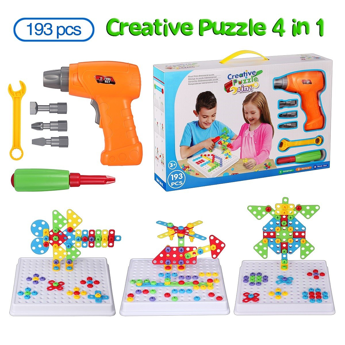 Haifeng Educational Toy Drill STEM Learning Create Design Kit Original 193 Piece Construction Engineering Building Blocks for 3, 4 and 5+ Year Old Boys & Girls Best Toy Gift Creative Fun Kit