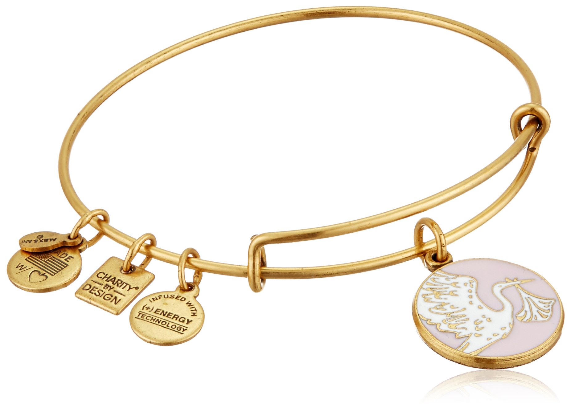 Alex and Ani Charity By Design Special Delivery Pink Rafaelian Gold Bangle Bracelet by Alex and Ani