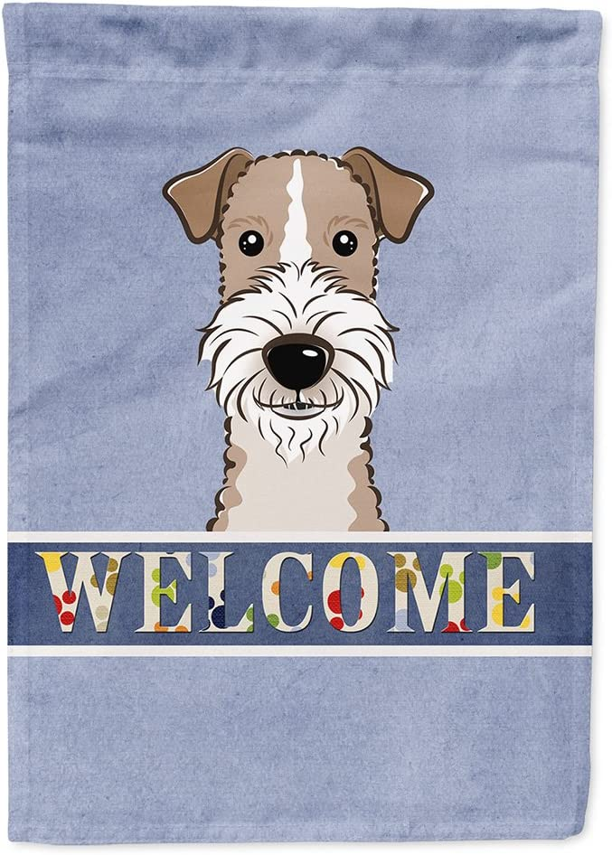 Caroline's Treasures BB1433GF Wire Haired Fox Terrier Welcome Flag Garden Size, Small, Multicolor