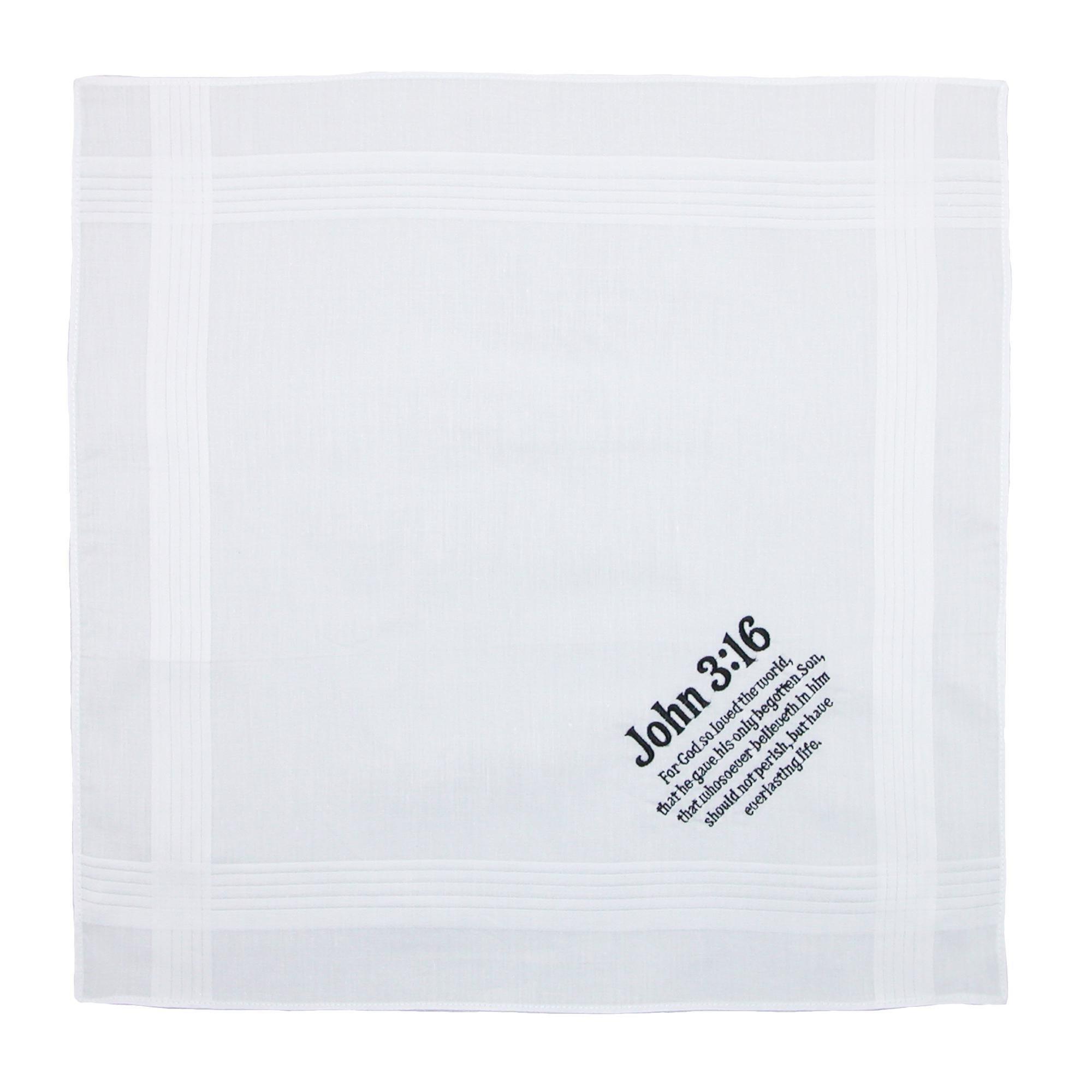 Umo Lorenzo Cotton John 3:16 Embroidered Handkerchief Set (Pack of 6), White by Umo Lorenzo (Image #3)